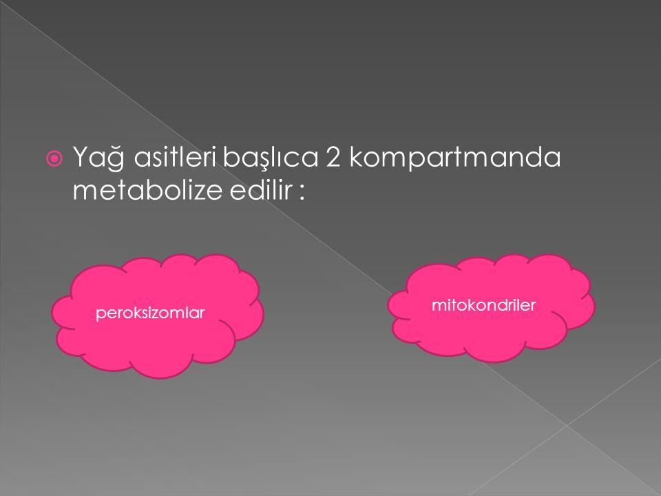  Yağ asitleri başlıca 2 kompartmanda metabolize edilir : peroksizomlar mitokondriler