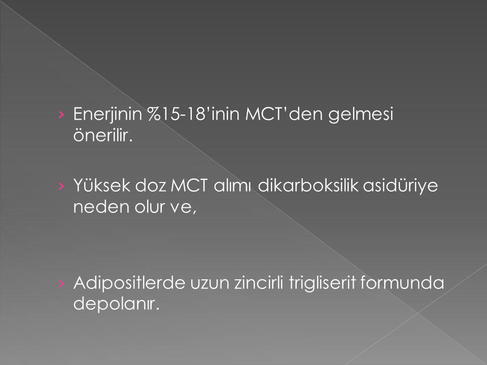 › Enerjinin %15-18'inin MCT'den gelmesi önerilir. › Yüksek doz MCT alımı dikarboksilik asidüriye neden olur ve, › Adipositlerde uzun zincirli triglise