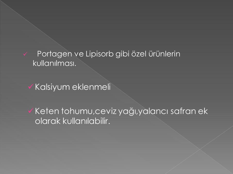 Portagen ve Lipisorb gibi özel ürünlerin kullanılması.