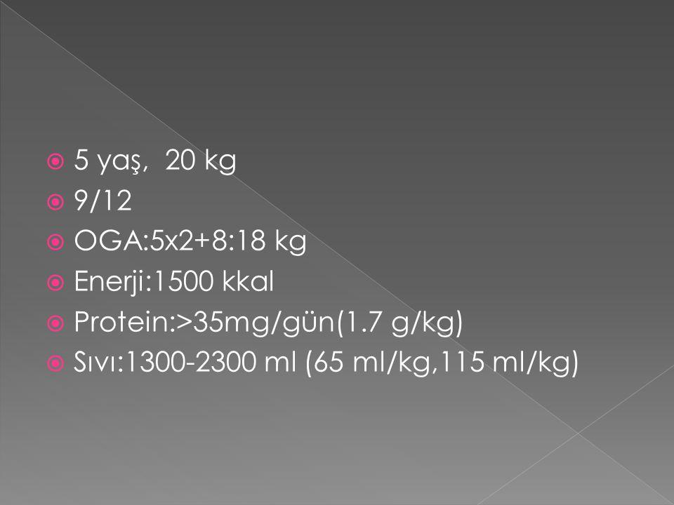  5 yaş, 20 kg  9/12  OGA:5x2+8:18 kg  Enerji:1500 kkal  Protein:>35mg/gün(1.7 g/kg)  Sıvı:1300-2300 ml (65 ml/kg,115 ml/kg)