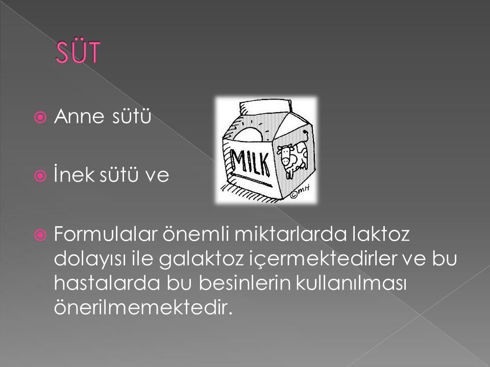  Anne sütü  İnek sütü ve  Formulalar önemli miktarlarda laktoz dolayısı ile galaktoz içermektedirler ve bu hastalarda bu besinlerin kullanılması ön