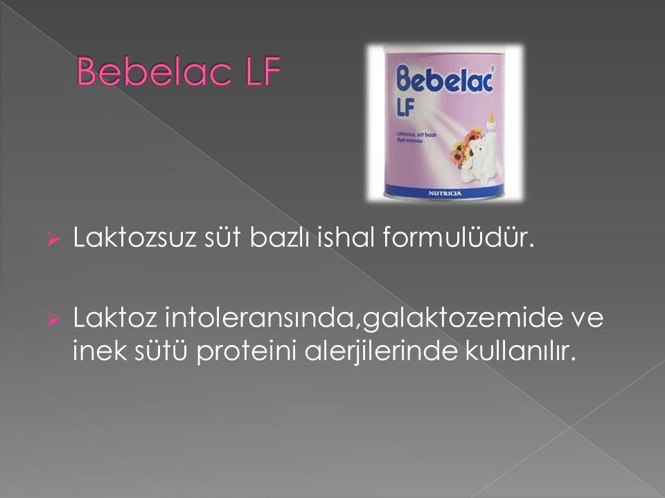  Laktozsuz süt bazlı ishal formulüdür.  Laktoz intoleransında,galaktozemide ve inek sütü proteini alerjilerinde kullanılır.
