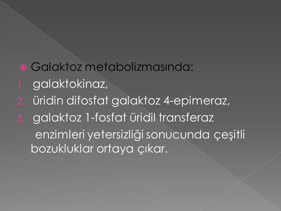 Galaktoz metabolizmasında: 1.galaktokinaz, 2. üridin difosfat galaktoz 4-epimeraz, 3.