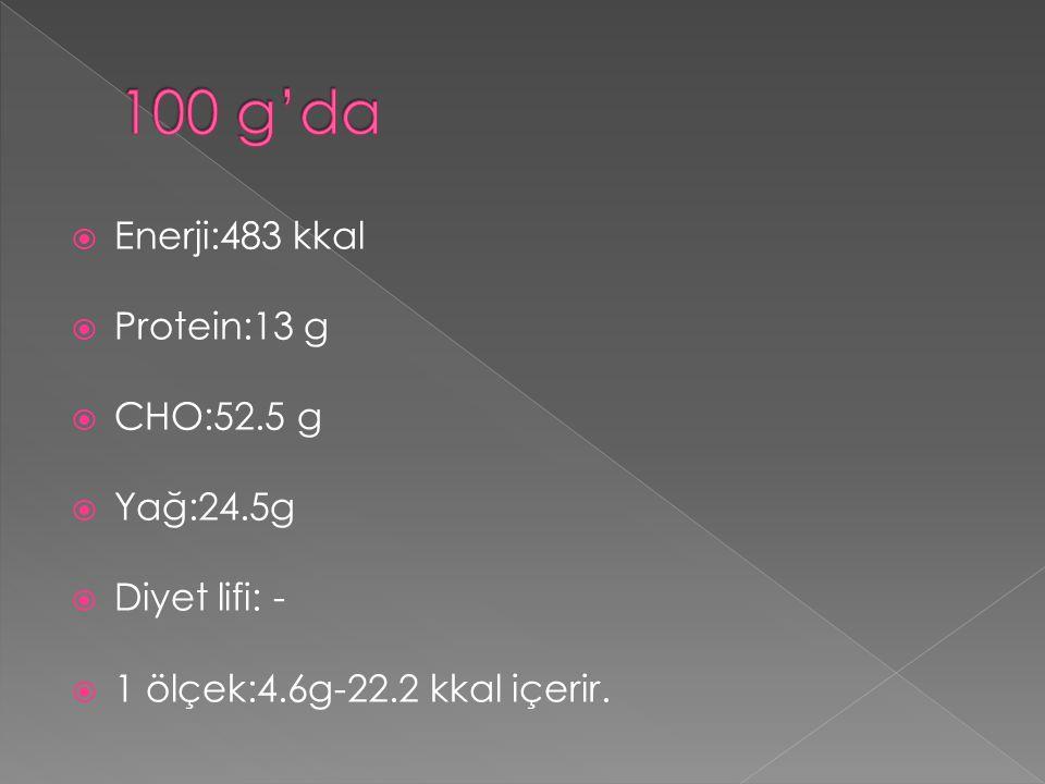  Enerji:483 kkal  Protein:13 g  CHO:52.5 g  Yağ:24.5g  Diyet lifi: -  1 ölçek:4.6g-22.2 kkal içerir.