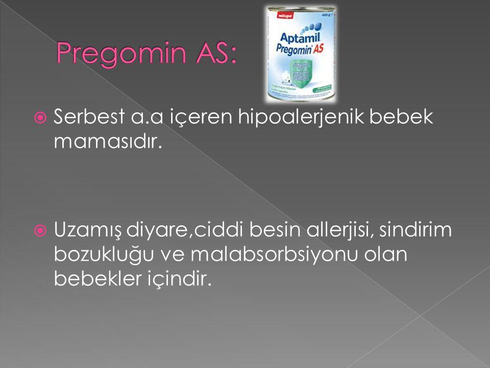  Serbest a.a içeren hipoalerjenik bebek mamasıdır.  Uzamış diyare,ciddi besin allerjisi, sindirim bozukluğu ve malabsorbsiyonu olan bebekler içindir