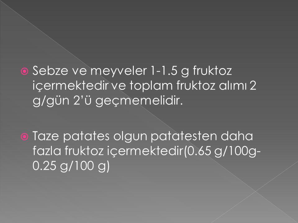  Sebze ve meyveler 1-1.5 g fruktoz içermektedir ve toplam fruktoz alımı 2 g/gün 2'ü geçmemelidir.  Taze patates olgun patatesten daha fazla fruktoz