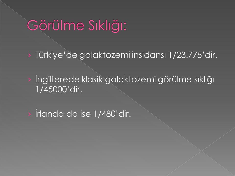 › Türkiye'de galaktozemi insidansı 1/23.775'dir. › İngilterede klasik galaktozemi görülme sıklığı 1/45000'dir. › İrlanda da ise 1/480'dir.