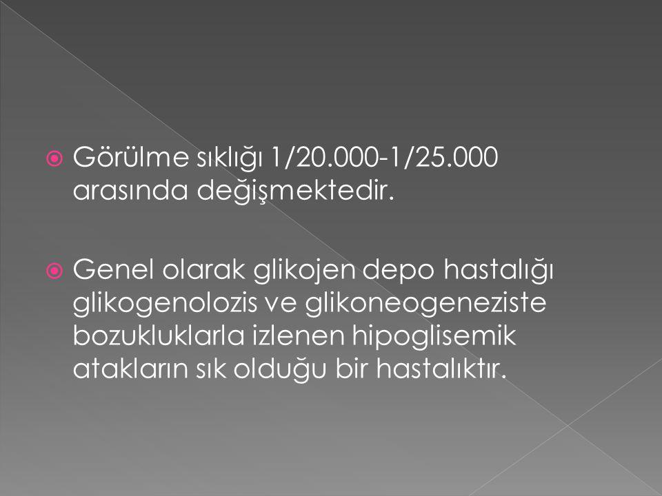  Görülme sıklığı 1/20.000-1/25.000 arasında değişmektedir.  Genel olarak glikojen depo hastalığı glikogenolozis ve glikoneogeneziste bozukluklarla i