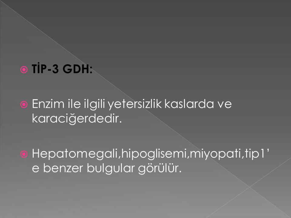  TİP-3 GDH:  Enzim ile ilgili yetersizlik kaslarda ve karaciğerdedir.  Hepatomegali,hipoglisemi,miyopati,tip1' e benzer bulgular görülür.