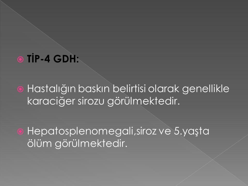  TİP-4 GDH:  Hastalığın baskın belirtisi olarak genellikle karaciğer sirozu görülmektedir.  Hepatosplenomegali,siroz ve 5.yaşta ölüm görülmektedir.