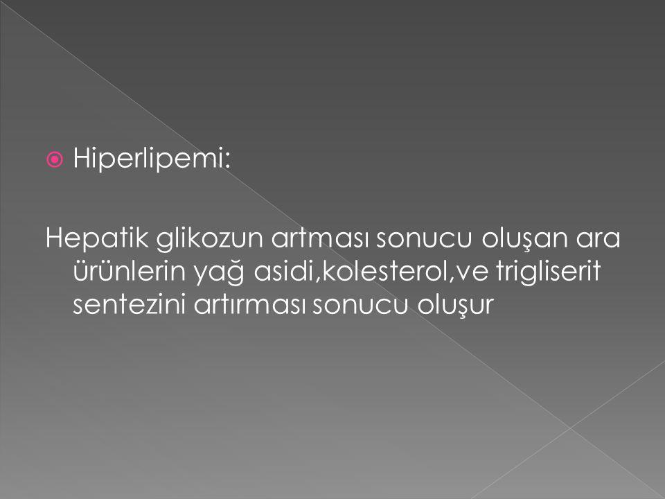  Hiperlipemi: Hepatik glikozun artması sonucu oluşan ara ürünlerin yağ asidi,kolesterol,ve trigliserit sentezini artırması sonucu oluşur