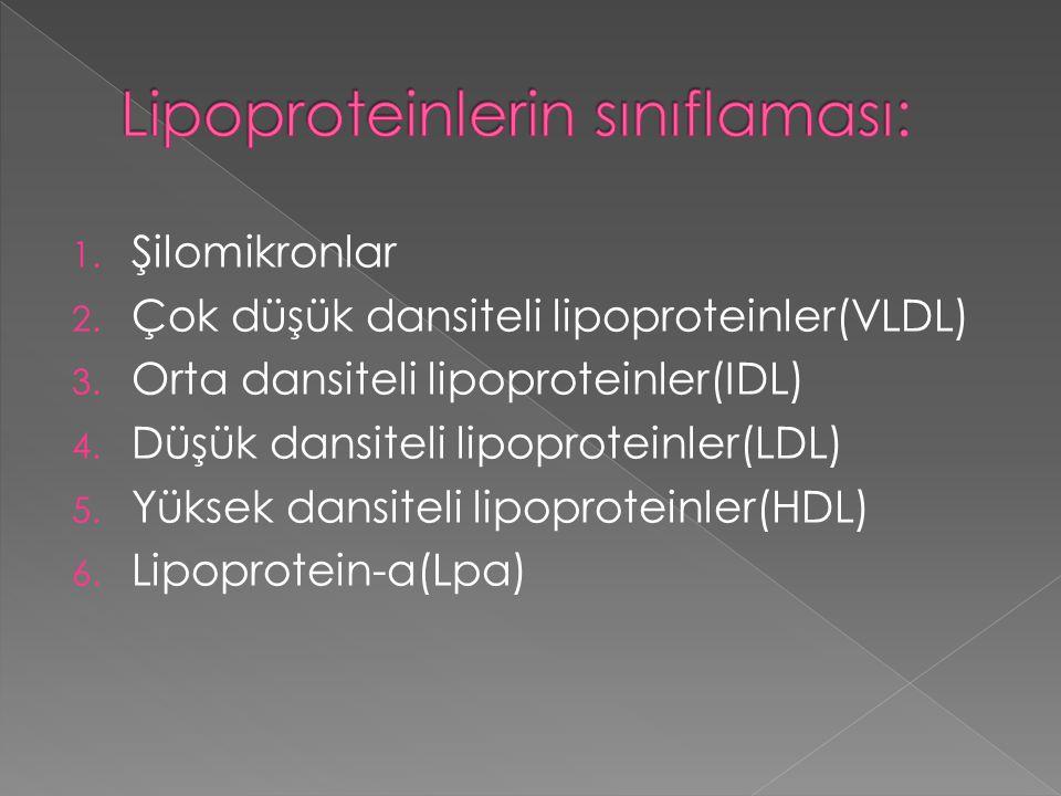 1. Şilomikronlar 2. Çok düşük dansiteli lipoproteinler(VLDL) 3. Orta dansiteli lipoproteinler(IDL) 4. Düşük dansiteli lipoproteinler(LDL) 5. Yüksek da
