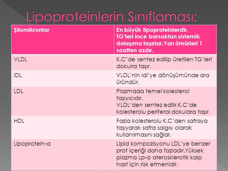 ŞilomikronlarEn büyük lipoproteinlerdir.