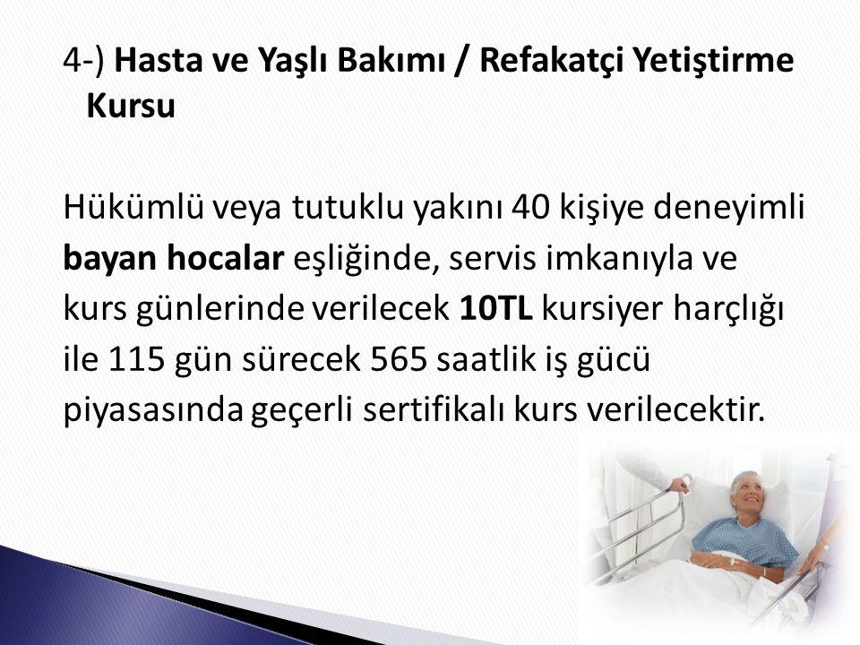 4-) Hasta ve Yaşlı Bakımı / Refakatçi Yetiştirme Kursu Hükümlü veya tutuklu yakını 40 kişiye deneyimli bayan hocalar eşliğinde, servis imkanıyla ve kurs günlerinde verilecek 10TL kursiyer harçlığı ile 115 gün sürecek 565 saatlik iş gücü piyasasında geçerli sertifikalı kurs verilecektir.
