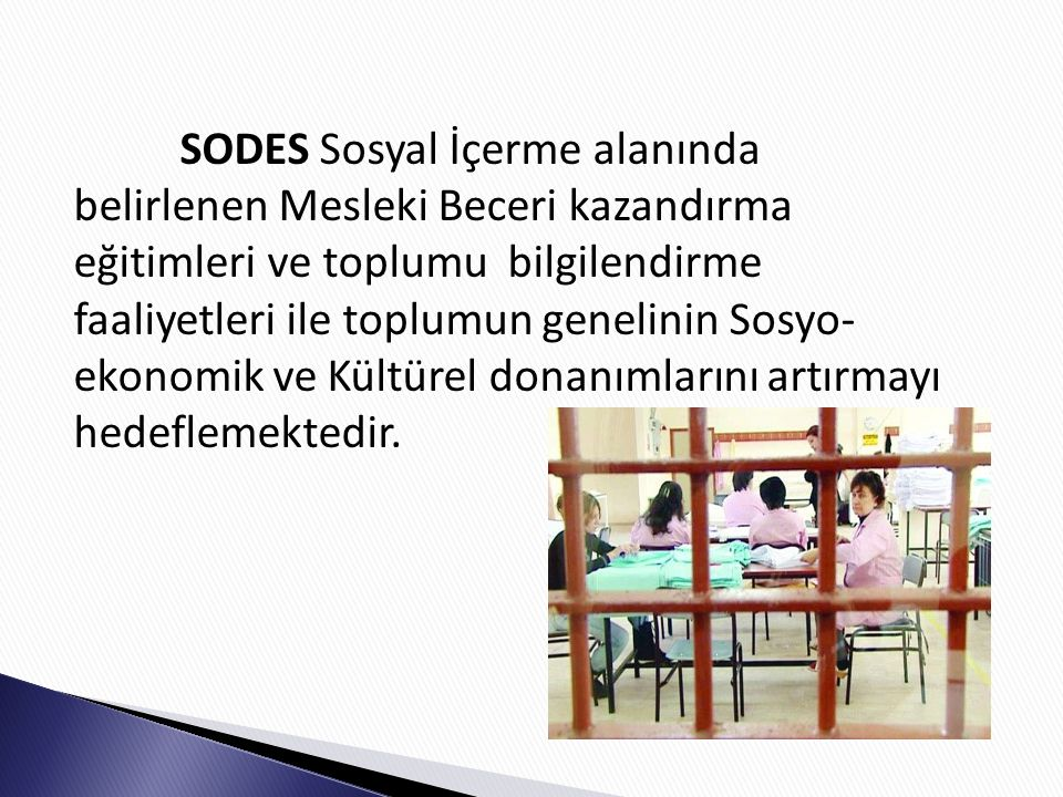 SODES Sosyal İçerme alanında belirlenen Mesleki Beceri kazandırma eğitimleri ve toplumu bilgilendirme faaliyetleri ile toplumun genelinin Sosyo- ekonomik ve Kültürel donanımlarını artırmayı hedeflemektedir.