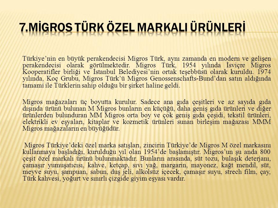 Türkiye'nin en büyük perakendecisi Migros Türk, aynı zamanda en modern ve gelişen perakendecisi olarak görülmektedir. Migros Türk, 1954 yılında İsviçr