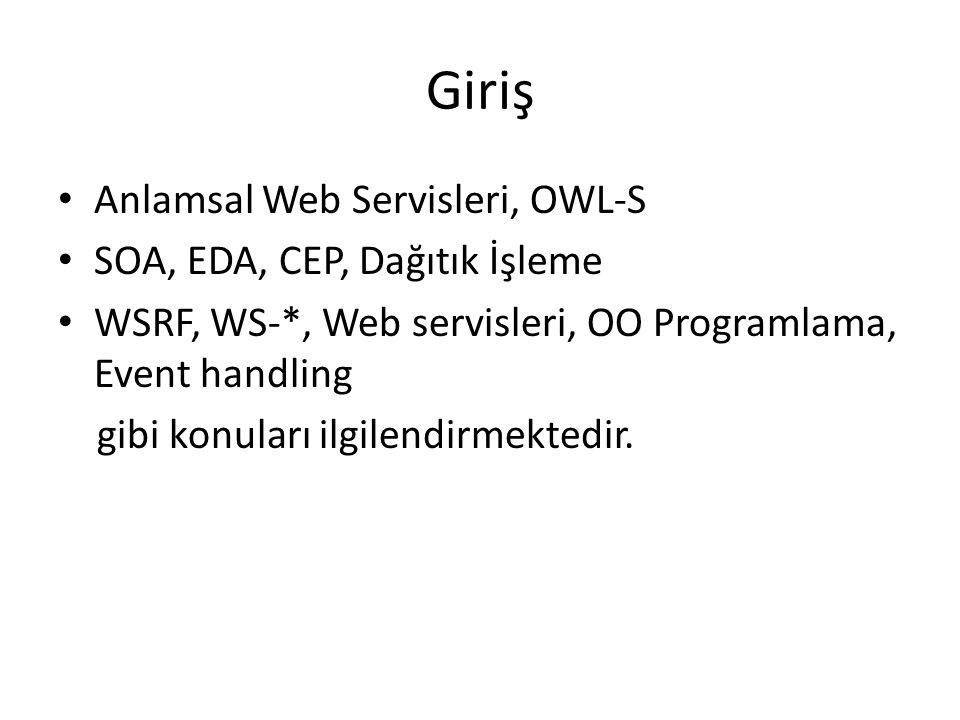 Giriş Anlamsal Web Servisleri, OWL-S SOA, EDA, CEP, Dağıtık İşleme WSRF, WS-*, Web servisleri, OO Programlama, Event handling gibi konuları ilgilendirmektedir.