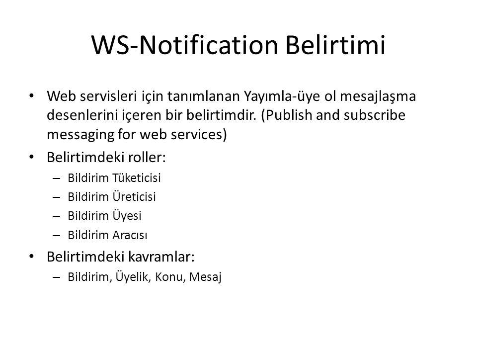 WS-Notification Belirtimi Web servisleri için tanımlanan Yayımla-üye ol mesajlaşma desenlerini içeren bir belirtimdir.