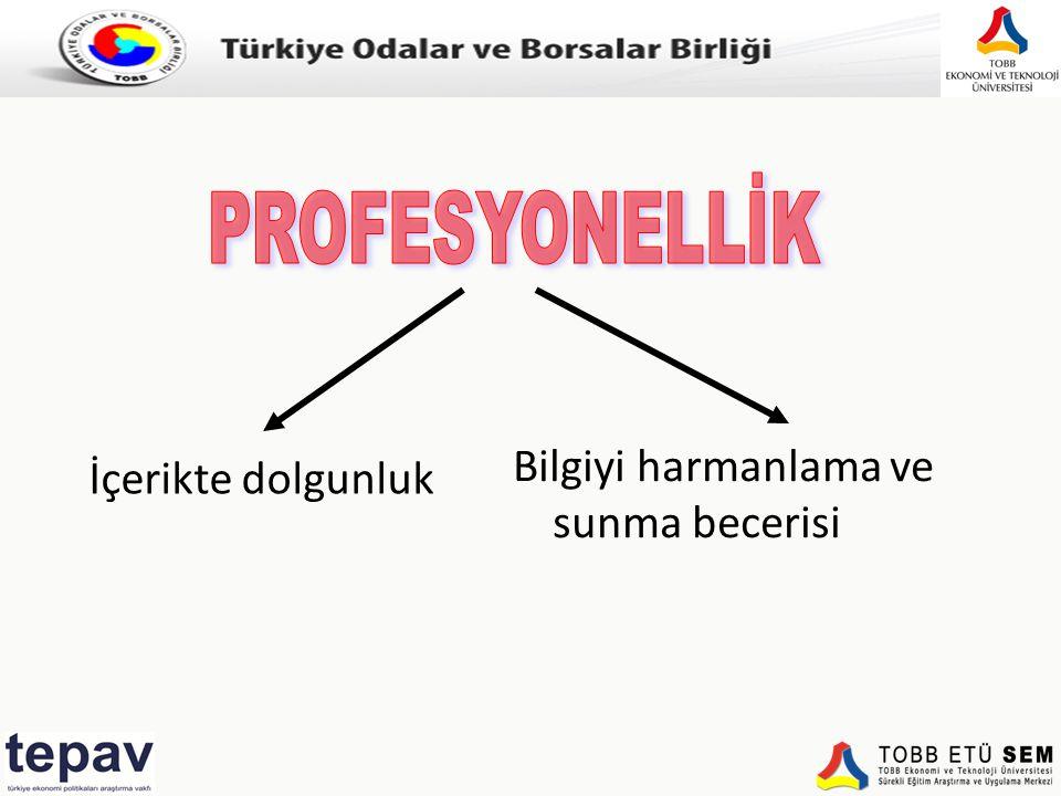 Türkiye Odalar ve Borsalar Birliği İçerikte dolgunluk Bilgiyi harmanlama ve sunma becerisi