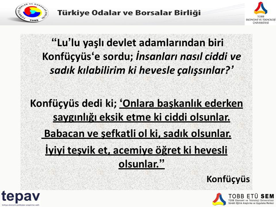 """Türkiye Odalar ve Borsalar Birliği """"Lu'lu yaşlı devlet adamlarından biri Konfüçyüs'e sordu; İnsanları nasıl ciddi ve sadık kılabilirim ki hevesle çalı"""