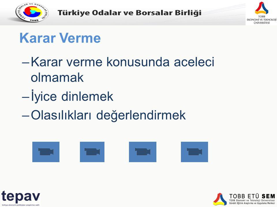 Türkiye Odalar ve Borsalar Birliği Karar Verme –Karar verme konusunda aceleci olmamak –İyice dinlemek –Olasılıkları değerlendirmek