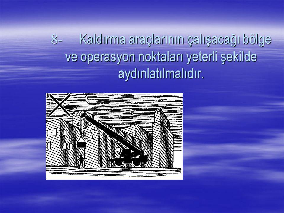 7-Yüklerin vinçlere asılı olarak taşınmasında görevlendirilen işaretçi ve işçiler, yüklerin önünde giderek etrafı kontrol etmeli ve yüklerin bir kimseye veya herhangi bir engele çarpmayacak bir yükseklikte taşınmasını sağlamalıdırlar.