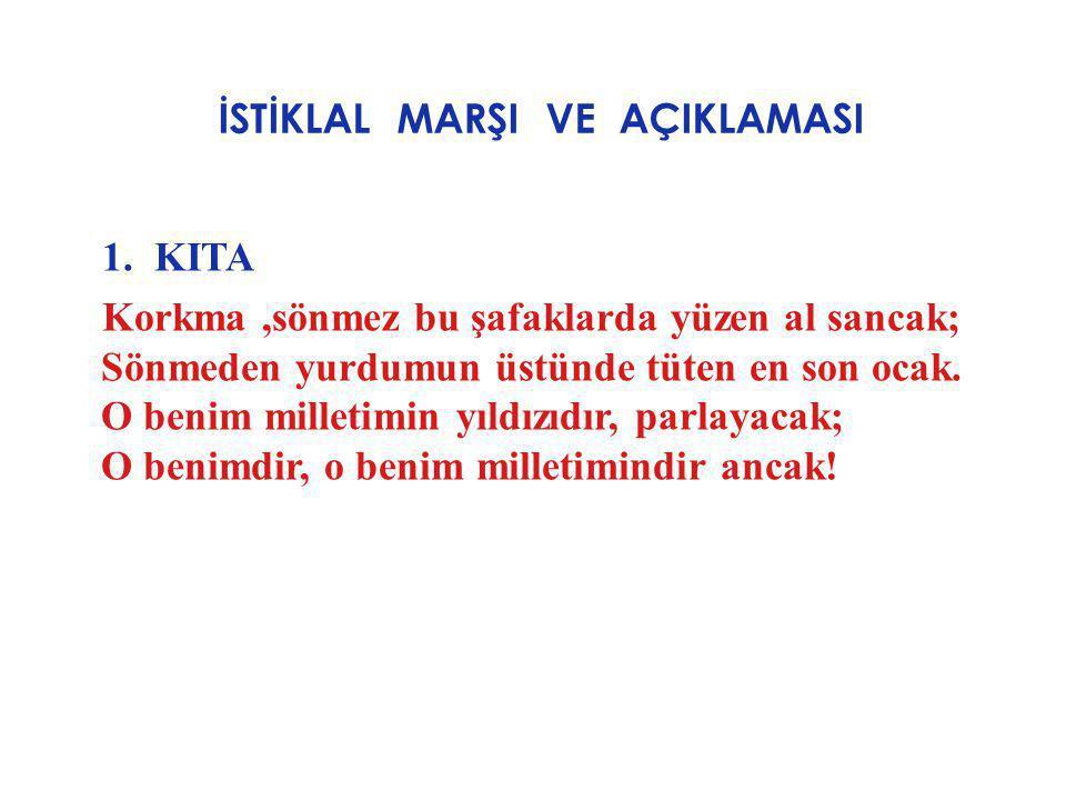 İSTİKLAL MARŞI VE AÇIKLAMASI AÇIKLAMASI : Bu kıtada şair,Türk milletine sesleniyor.