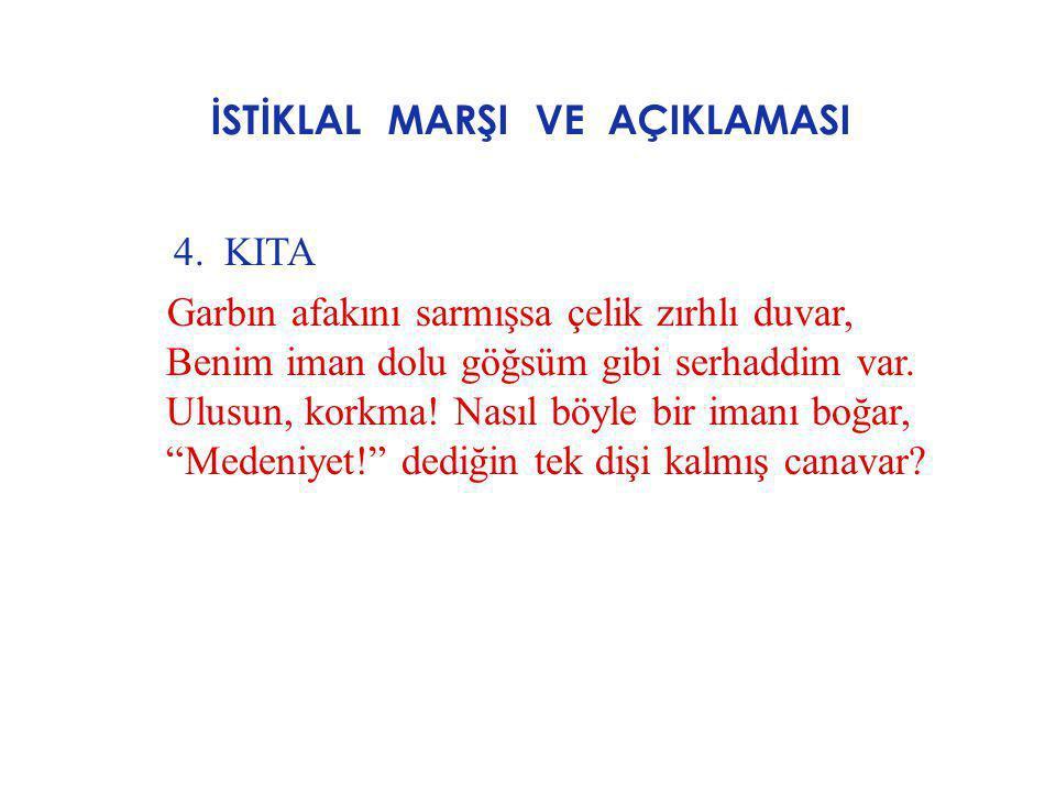 İSTİKLAL MARŞI VE AÇIKLAMASI AÇIKLAMASI : Bu kıtada şair,Türk milletinin iman gücünü işliyor.