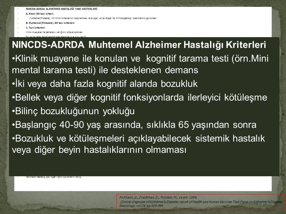 NINCDS-ADRDA ALZHEİMER HASTALIĞI TANI KRİTERLERİ A. Kesin AH tanı kriteri: Muhtemel(Probable) AH klinik kriterlerinin karşılanması ve biyopsi ya da ot