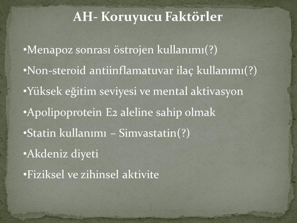 AH- Koruyucu Faktörler Menapoz sonrası östrojen kullanımı(?) Non-steroid antiinflamatuvar ilaç kullanımı(?) Yüksek eğitim seviyesi ve mental aktivasyo