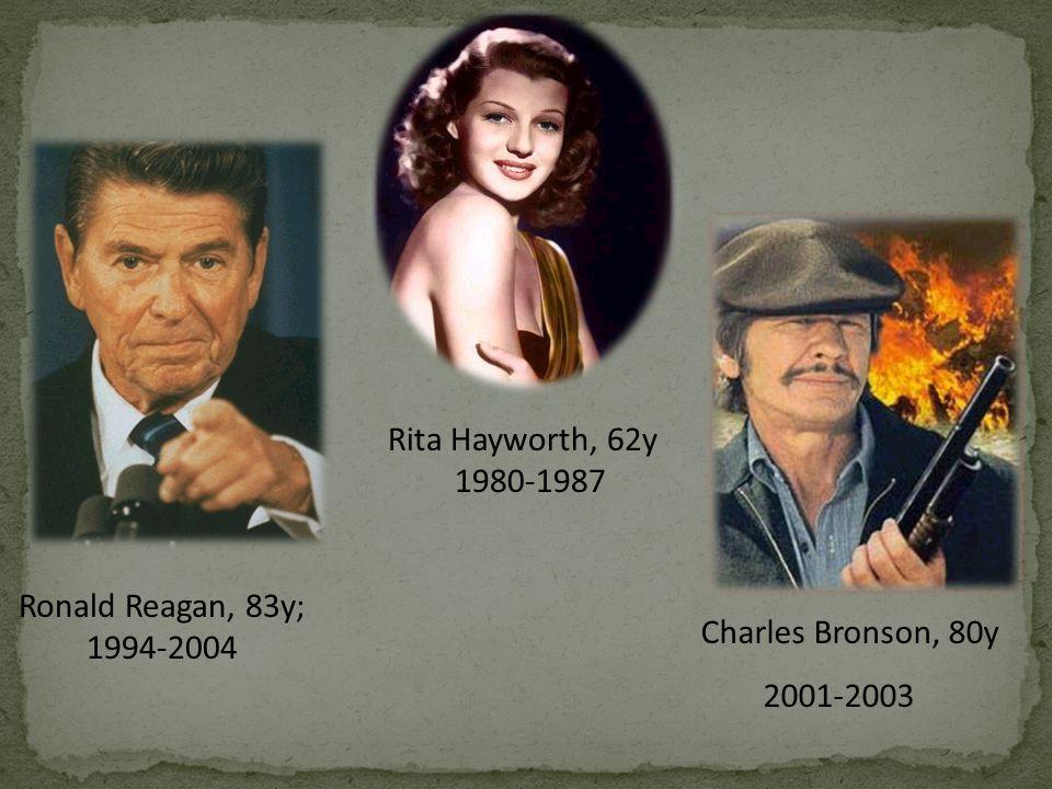 Charles Bronson, 80y 2001-2003 Ronald Reagan, 83y; 1994-2004 Rita Hayworth, 62y 1980-1987