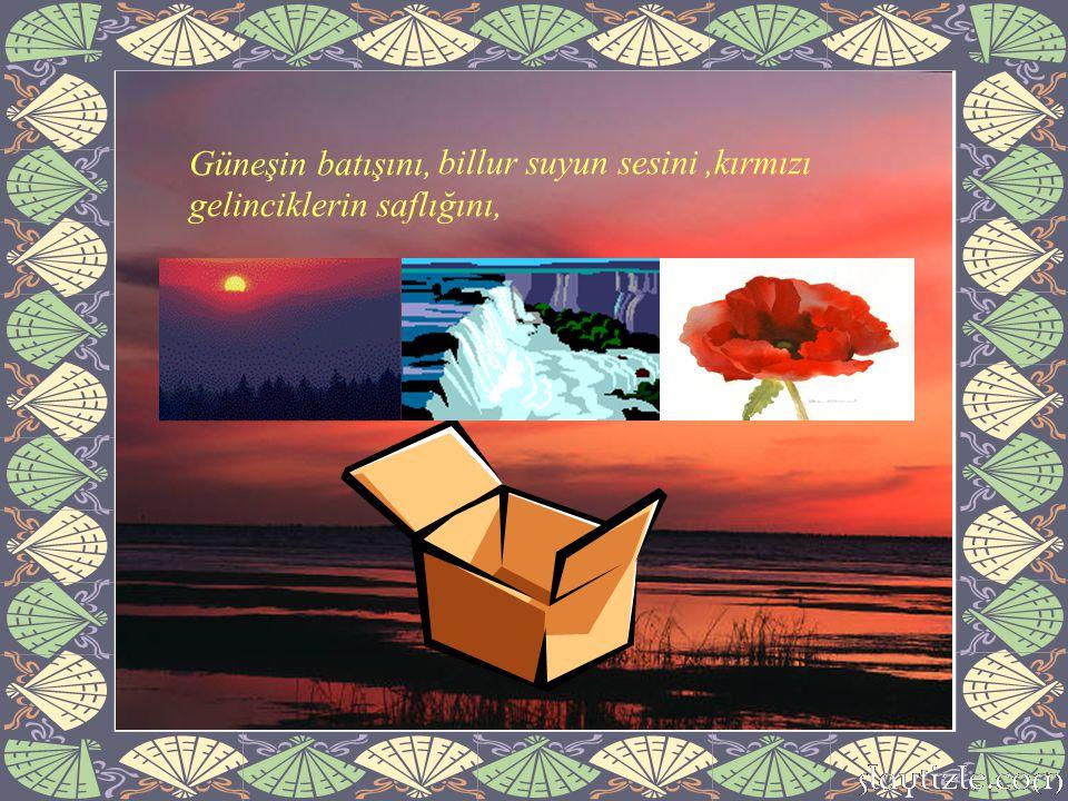 ,kırmızı gelinciklerin saflığını, billur suyun sesini Güneşin batışını,
