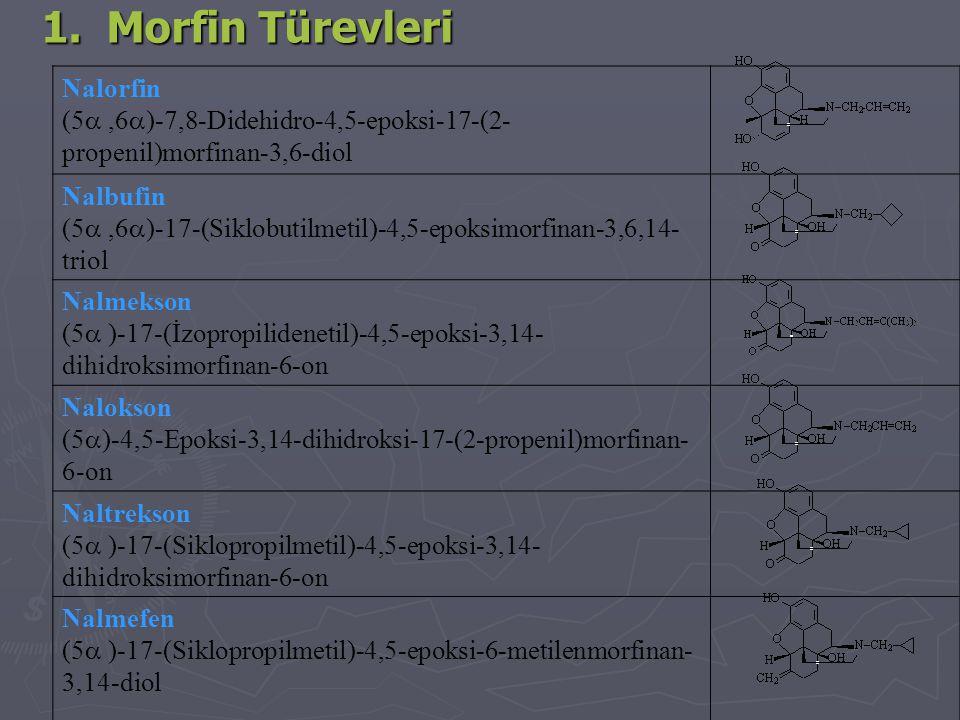 1. Morfin Türevleri Nalorfin (5 ,6  )-7,8-Didehidro-4,5-epoksi-17-(2- propenil)morfinan-3,6-diol Nalbufin (5 ,6  )-17-(Siklobutilmetil)-4,5-epoksi
