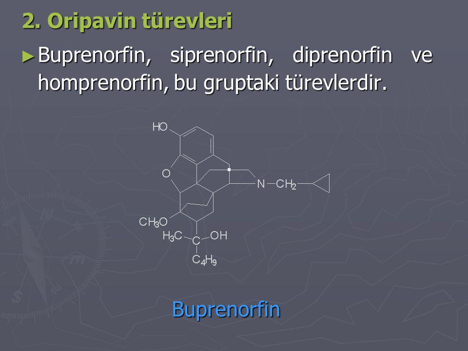 2. Oripavin türevleri ► Buprenorfin, siprenorfin, diprenorfin ve homprenorfin, bu gruptaki türevlerdir. Buprenorfin