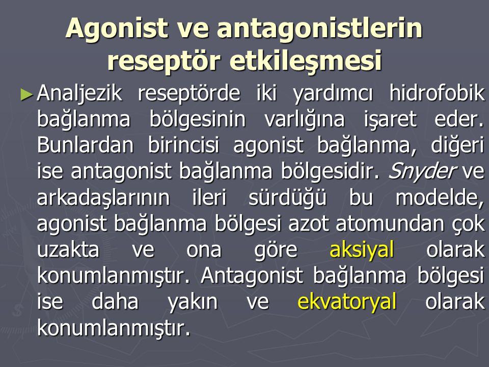 Agonist ve antagonistlerin reseptör etkileşmesi ► Analjezik reseptörde iki yardımcı hidrofobik bağlanma bölgesinin varlığına işaret eder. Bunlardan bi