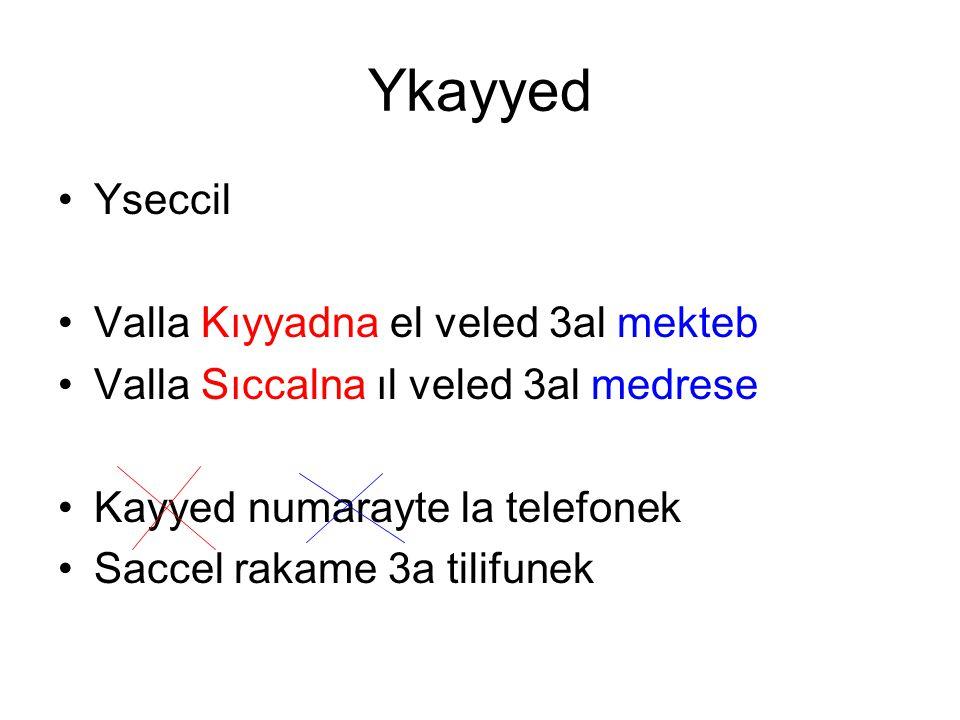 Ykayyed Yseccil Valla Kıyyadna el veled 3al mekteb Valla Sıccalna ıl veled 3al medrese Kayyed numarayte la telefonek Saccel rakame 3a tilifunek