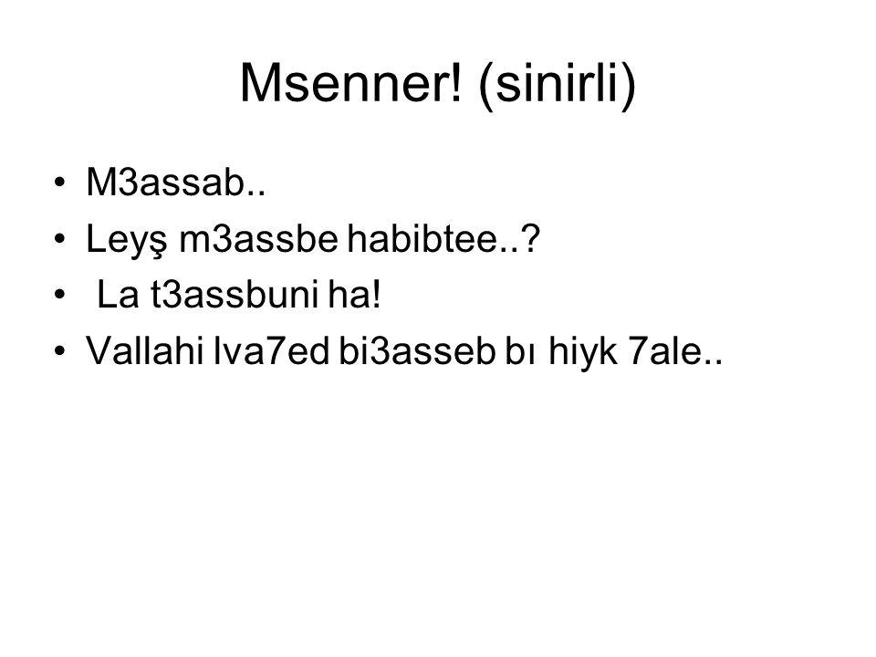 Msenner! (sinirli) M3assab.. Leyş m3assbe habibtee..? La t3assbuni ha! Vallahi lva7ed bi3asseb bı hiyk 7ale..