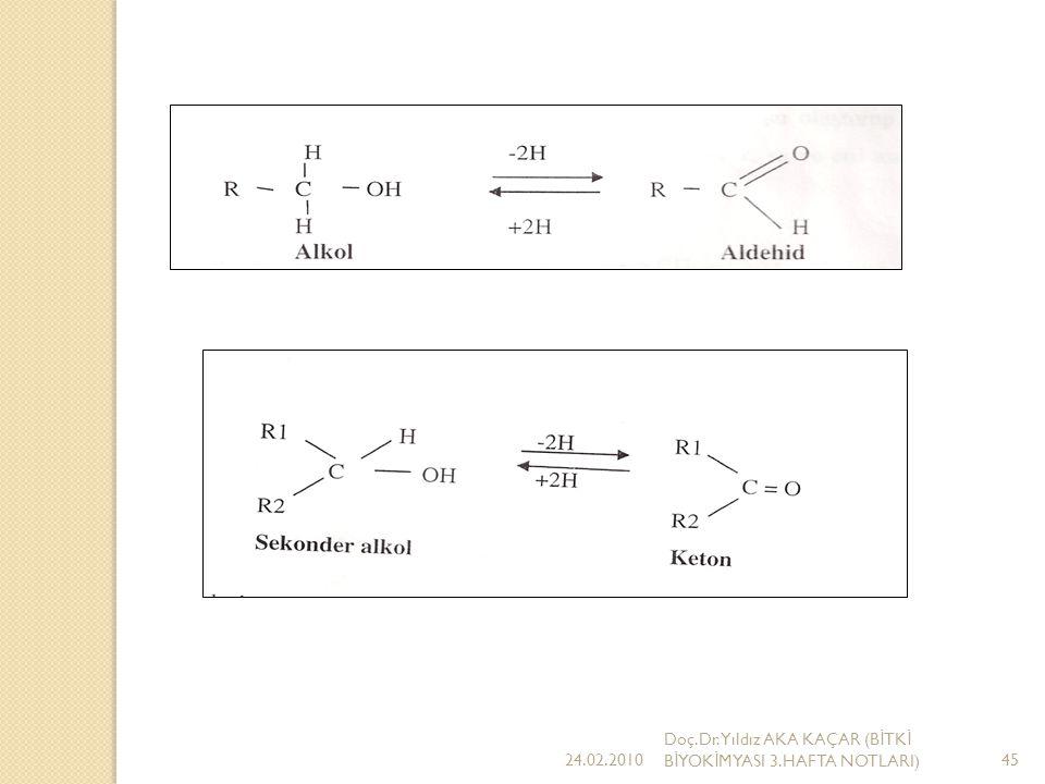 Canlı hücrede gelişen birçok oksidasyon redüksiyon reaksiyonları karbonil içeren bileşiklerin kendi alkollerine dönüşmesiyle sonuçlanır.