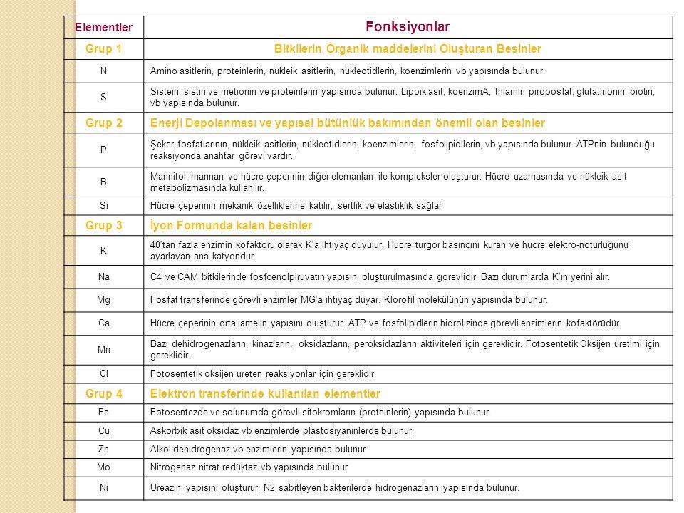 Birinci grup elementler: Bitkinin organik maddelerini oluşturan elementleri içerir.