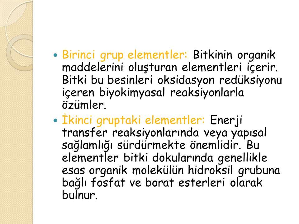 Üçüncü grubun elementleri: bitki dokularında serbest iyon veya bitki hücre çeperinde bulunan peptik asitler gibi maddelere bağlı iyonlar olarak bulunurlar.