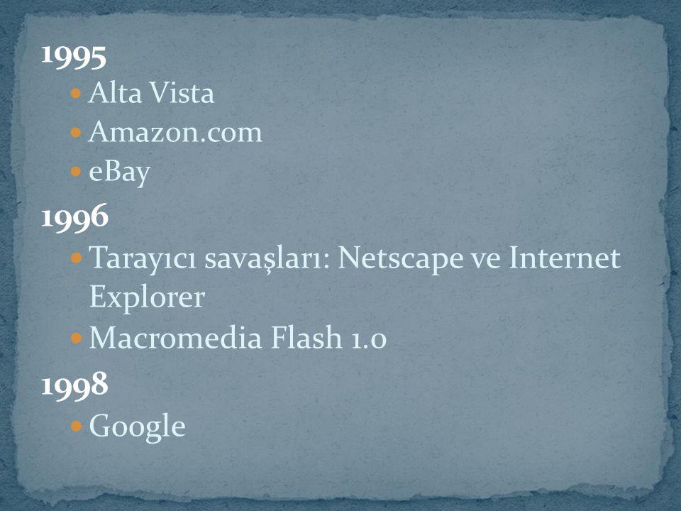 1995 Alta Vista Amazon.com eBay 1996 Tarayıcı savaşları: Netscape ve Internet Explorer Macromedia Flash 1.0 1998 Google