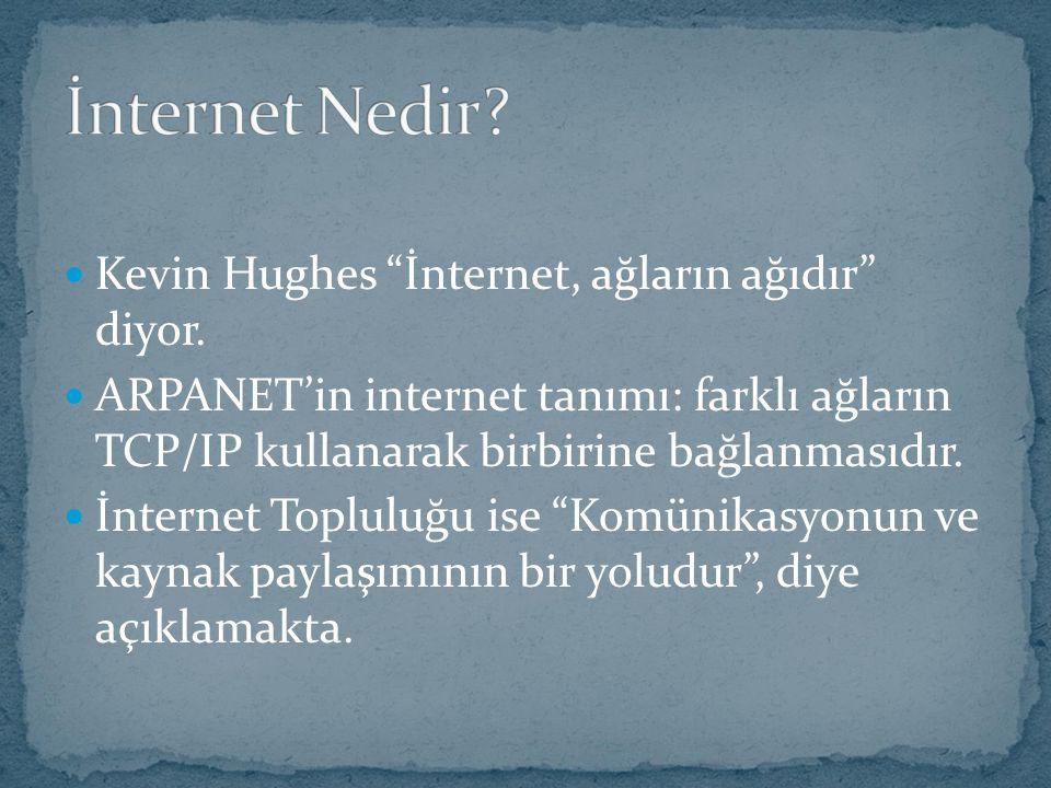 """Kevin Hughes """"İnternet, ağların ağıdır"""" diyor. ARPANET'in internet tanımı: farklı ağların TCP/IP kullanarak birbirine bağlanmasıdır. İnternet Topluluğ"""