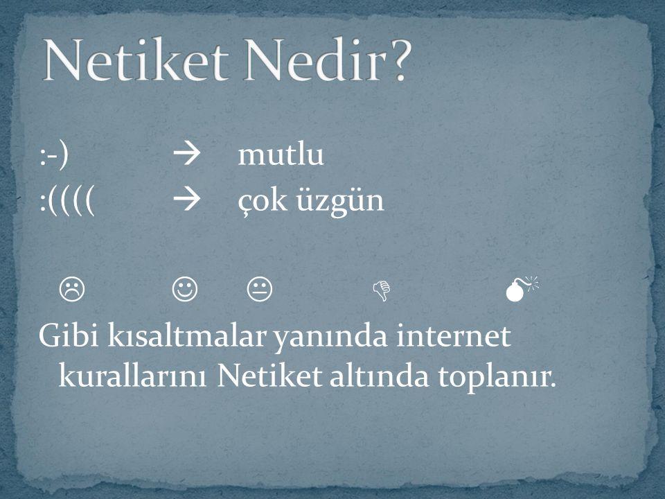 :-)  mutlu :((((  çok üzgün   Gibi kısaltmalar yanında internet kurallarını Netiket altında toplanır.