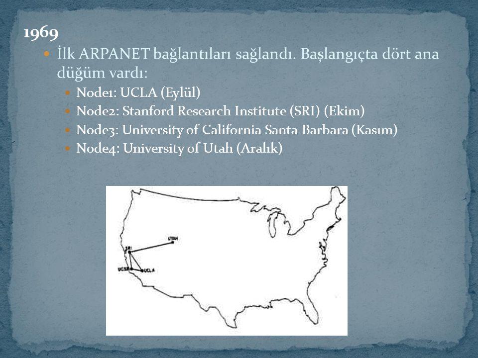 1970 ARPANET düğümleri NCP, Network Kontrol Protokolu kullanılmaya başlandı.