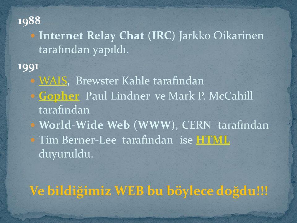 1988 Internet Relay Chat (IRC) Jarkko Oikarinen tarafından yapıldı. 1991 WAIS, Brewster Kahle tarafından WAIS Gopher Paul Lindner ve Mark P. McCahill