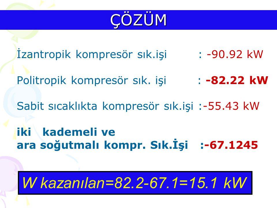 ÇÖZÜM İzantropik kompresör sık.işi : -90.92 kW Politropik kompresör sık. işi : -82.22 kW Sabit sıcaklıkta kompresör sık.işi :-55.43 kW iki kademeli ve