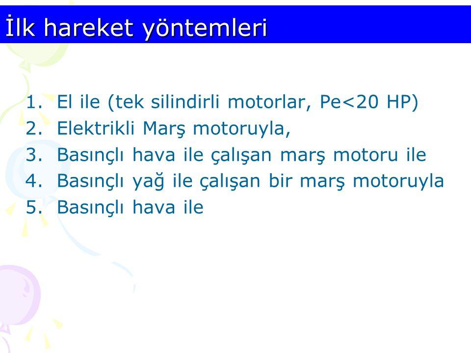 İlk hareket yöntemleri 1.El ile (tek silindirli motorlar, Pe<20 HP) 2.Elektrikli Marş motoruyla, 3.Basınçlı hava ile çalışan marş motoru ile 4.Basınçl