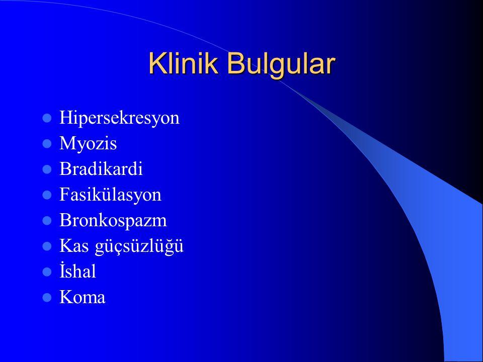 Klinik Bulgular Hipersekresyon Myozis Bradikardi Fasikülasyon Bronkospazm Kas güçsüzlüğü İshal Koma