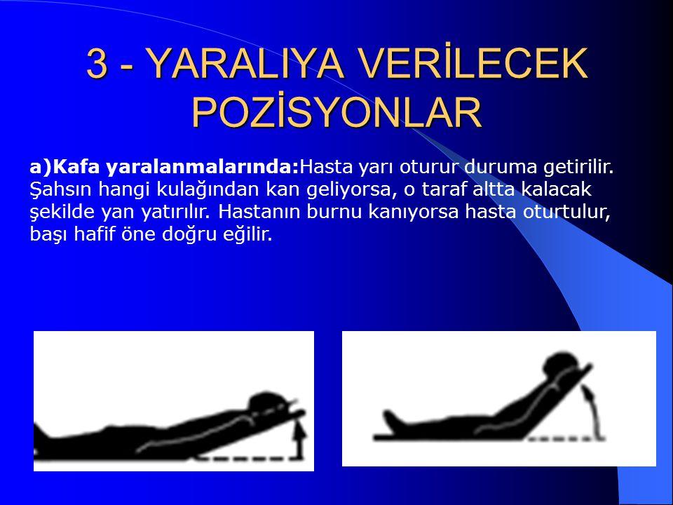 3 - YARALIYA VERİLECEK POZİSYONLAR a)Kafa yaralanmalarında:Hasta yarı oturur duruma getirilir. Şahsın hangi kulağından kan geliyorsa, o taraf altta ka