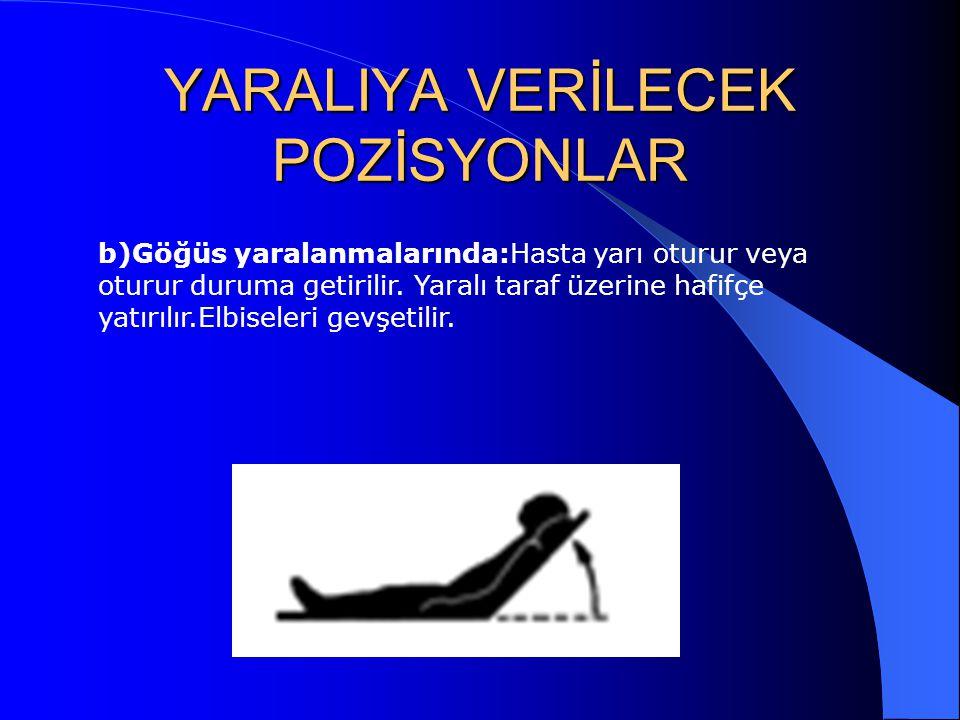 YARALIYA VERİLECEK POZİSYONLAR b)Göğüs yaralanmalarında:Hasta yarı oturur veya oturur duruma getirilir. Yaralı taraf üzerine hafifçe yatırılır.Elbisel